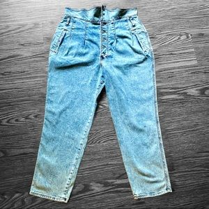 Express Tapered Ankle Super High Rise Button Fly Jeans Denim Womens Size 14
